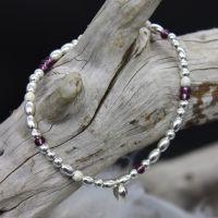 Bea Bracelet/Anklet - Sterling Silver & Amethyst Seed Beads