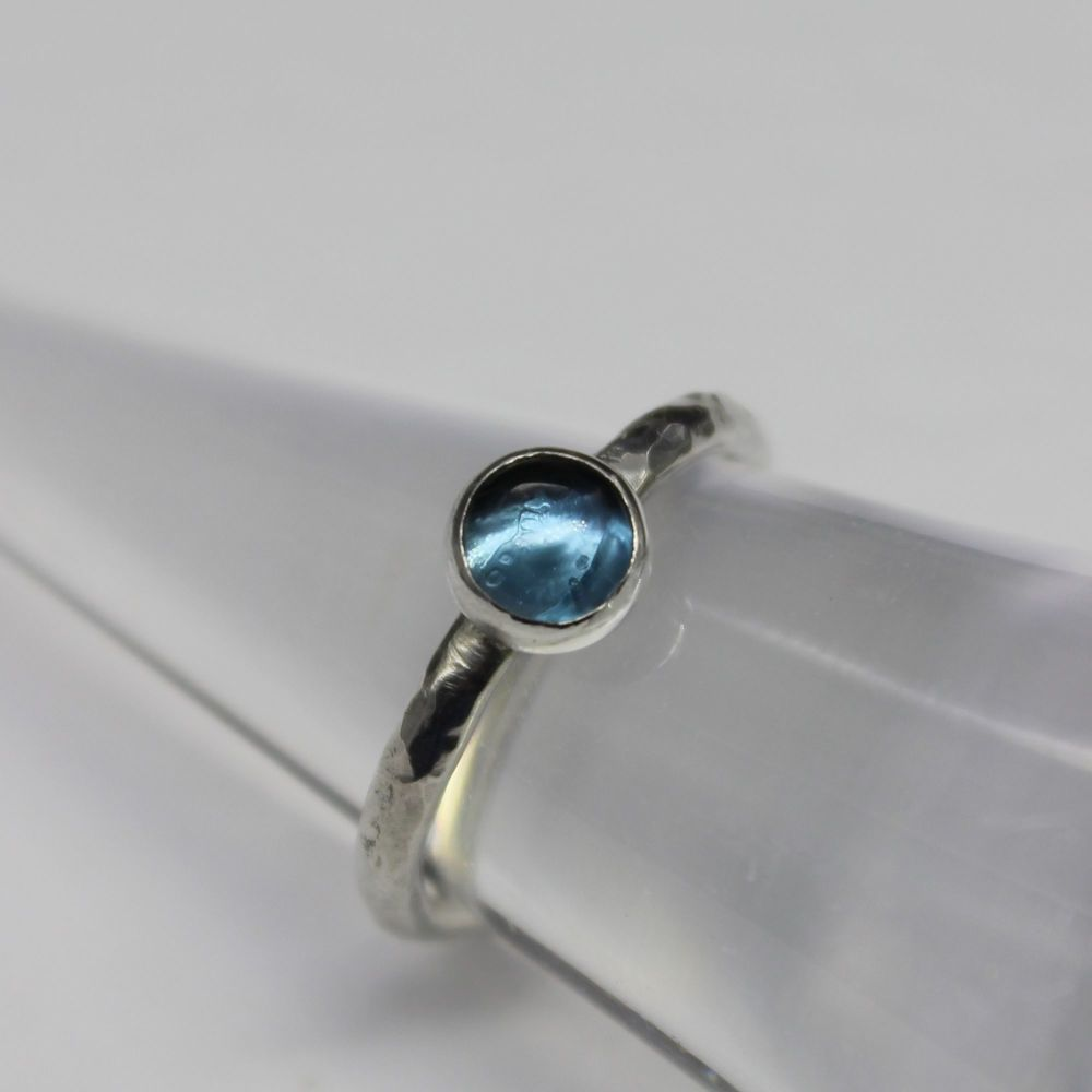 Hammered Silver Ring with London Blue Topaz