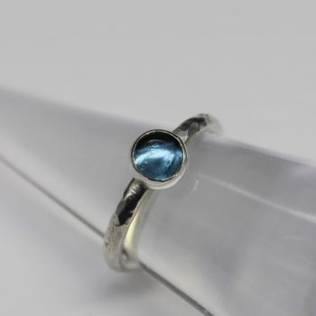 London Blue Topaz with Hammered Silver Band