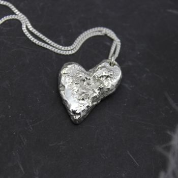 Recycled Silver Solid Heart Necklace