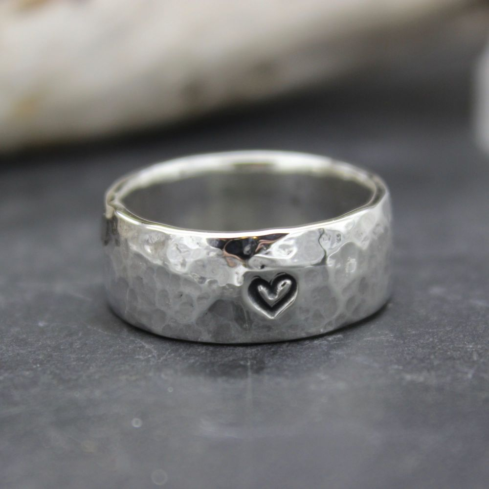 Heavy Hammered Heart Thumb Ring