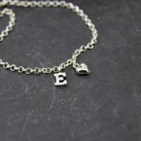 Puffed Heart Charm & Initial Bracelet