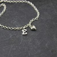 Puffed Heart Charm & Initial Bracelet