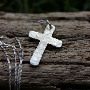 Cross Necklace - Hammered Finish