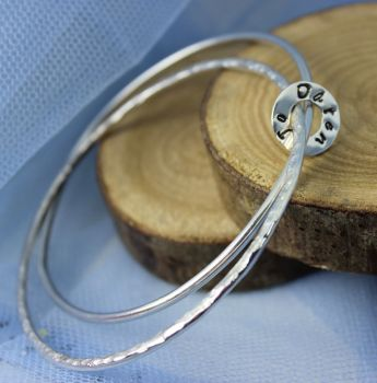 Double Bangle with Personalised Silver Circle