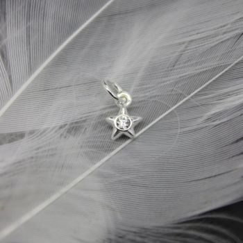 Puffed Star Charm with Zirconia Centre