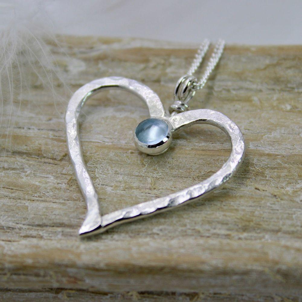 Large Hammered Heart Pendant with Aquamarine Cabochon