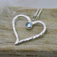 Hammered Heart Necklace with Gemstone