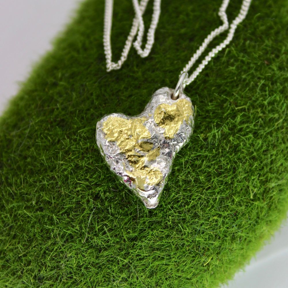 Recycled Silver Solid Heart Necklace with 24ct Gold