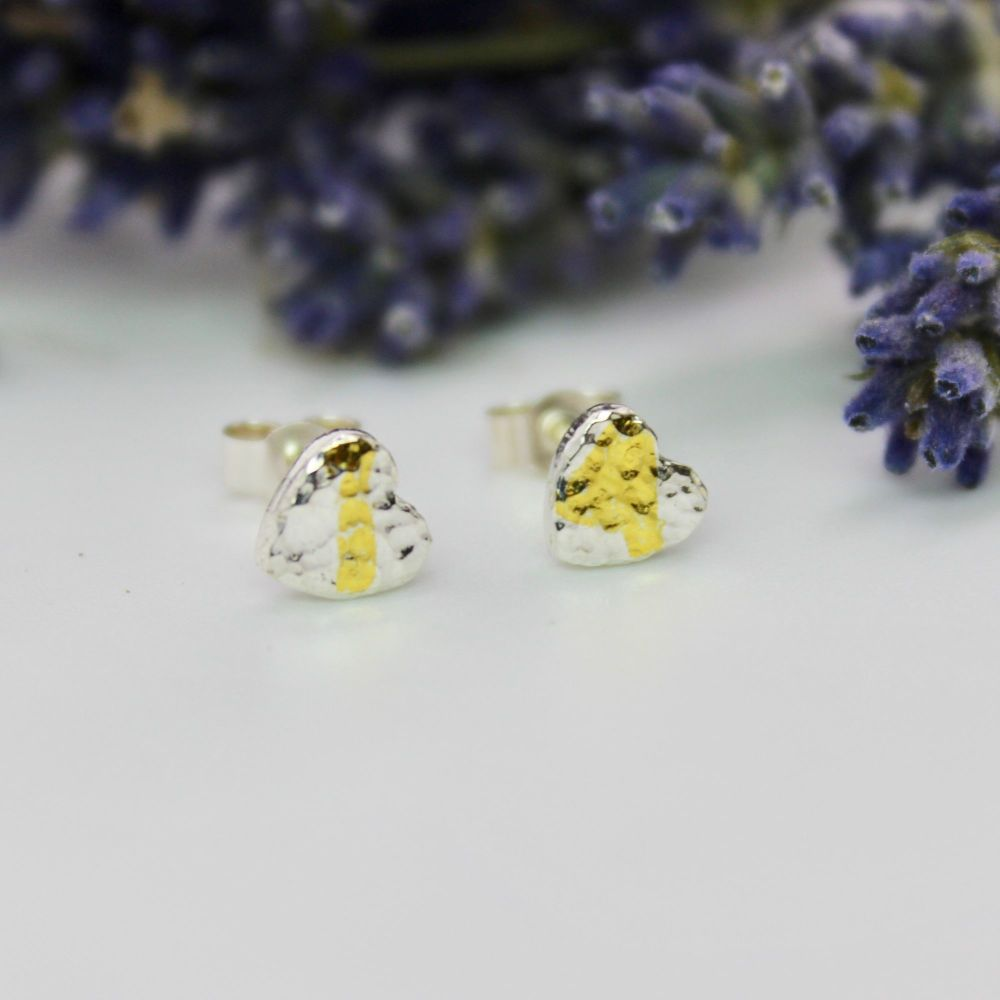 Hammered Heart Stud Earrings (small) with 24ct Gold Accent