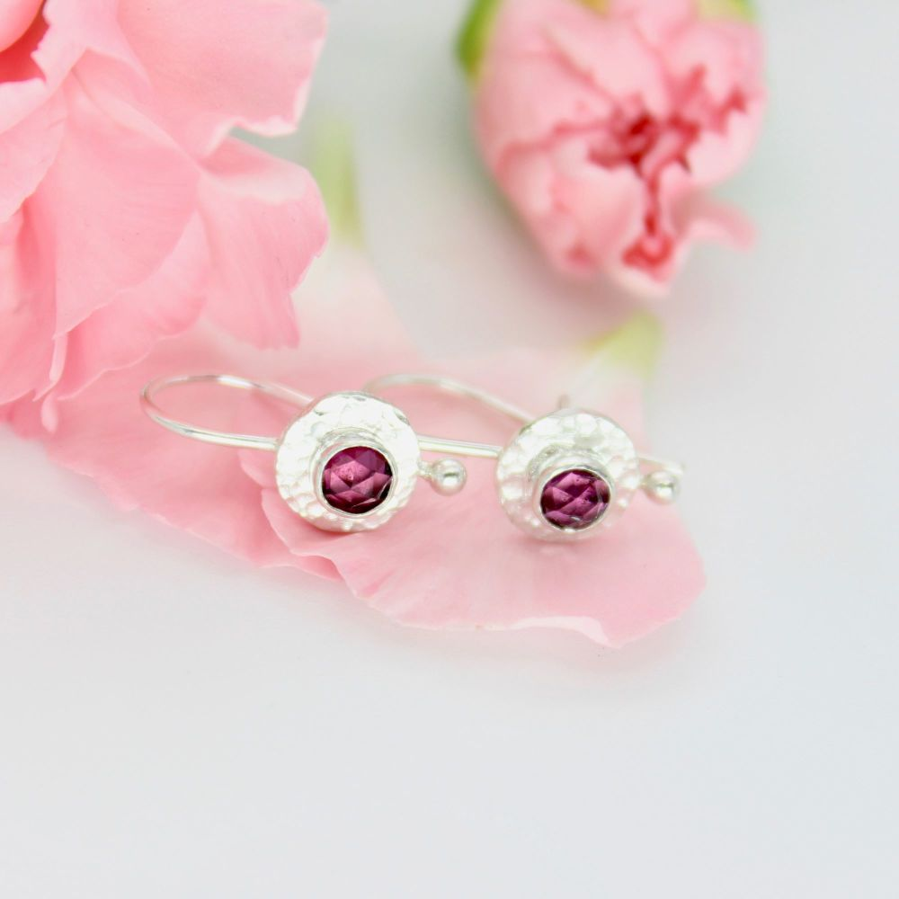 Silver Drop Earrings with Rose Cut Rhodolite Garnets