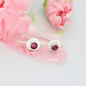 Silver Drop Earrings with Rose Cut Rhodolite Garnets