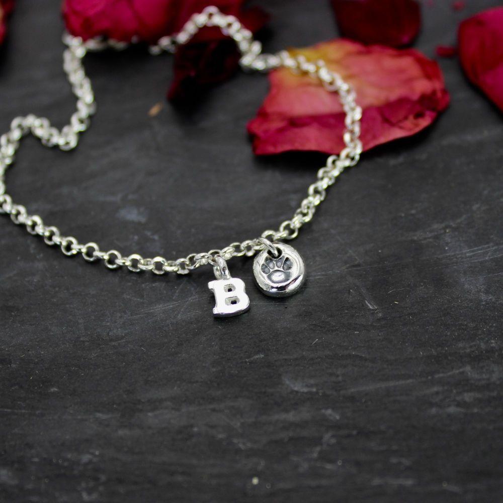 Paw Print Charm & Initial Bracelet
