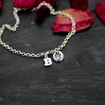 Paw Print Charm & Initial Bracelet - personalised