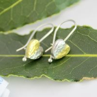 Hammered Heart Drop Earrings with 24ct Gold Accent