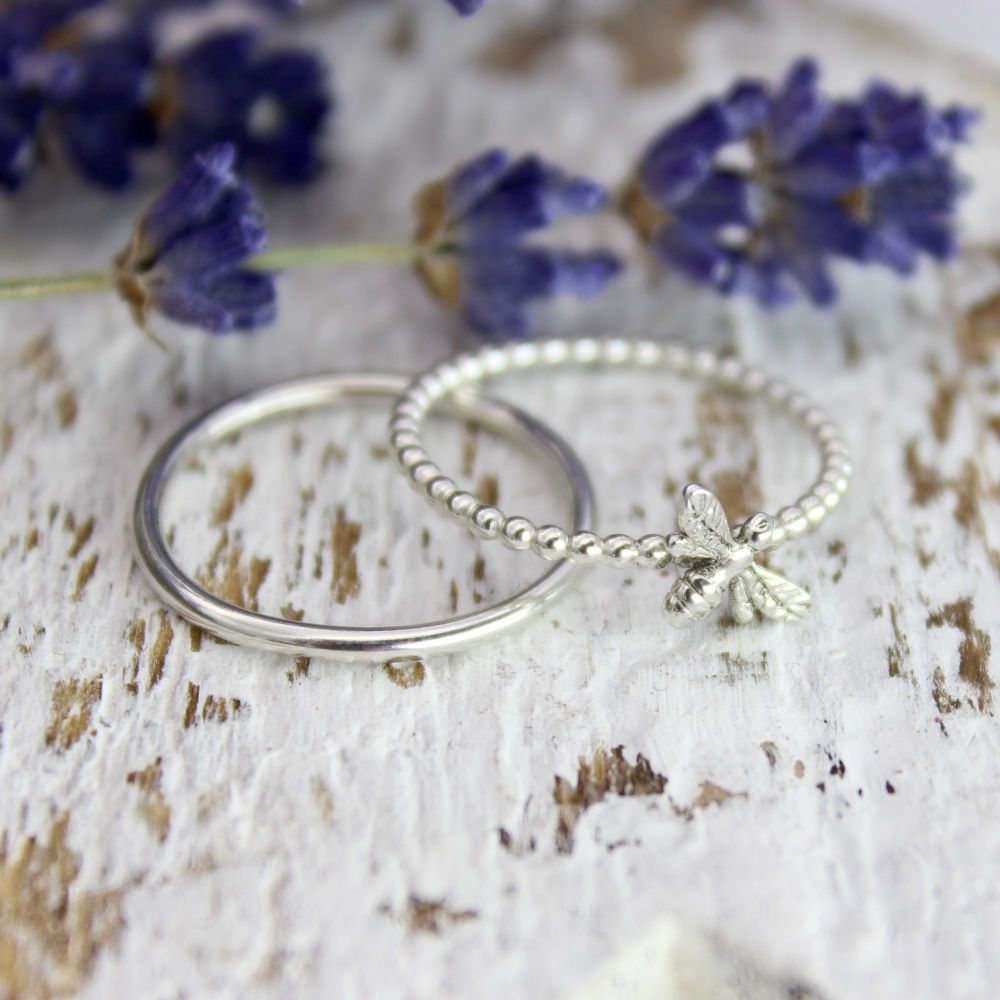 Dainty Bee Stacking Ring with Co-ordinated Plain Band