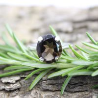 Smokey Quartz (12 x 10mm) Oval Faceted Stone Ring