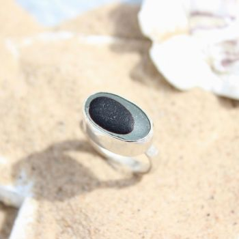 Seaham Sea Glass, Dark Red Fish Eye Ring
