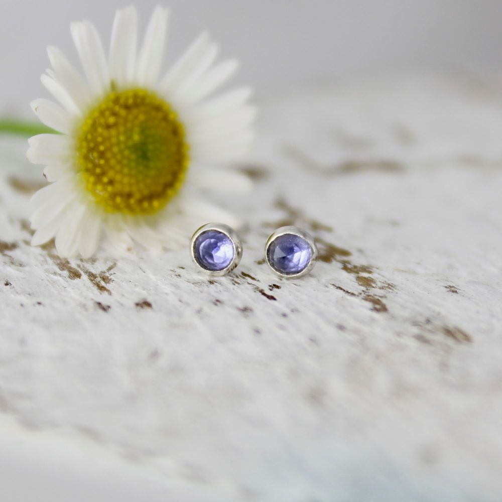 Lolite Rose Cut Studs Tiny (3mm)