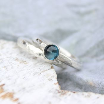 London Blue Topaz Stacking Ring  and Hammered Silver Ring