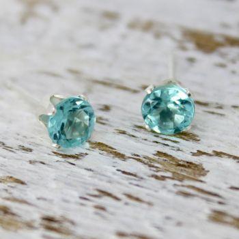 Ocean Blue Apatite Faceted Earrings (5mm)