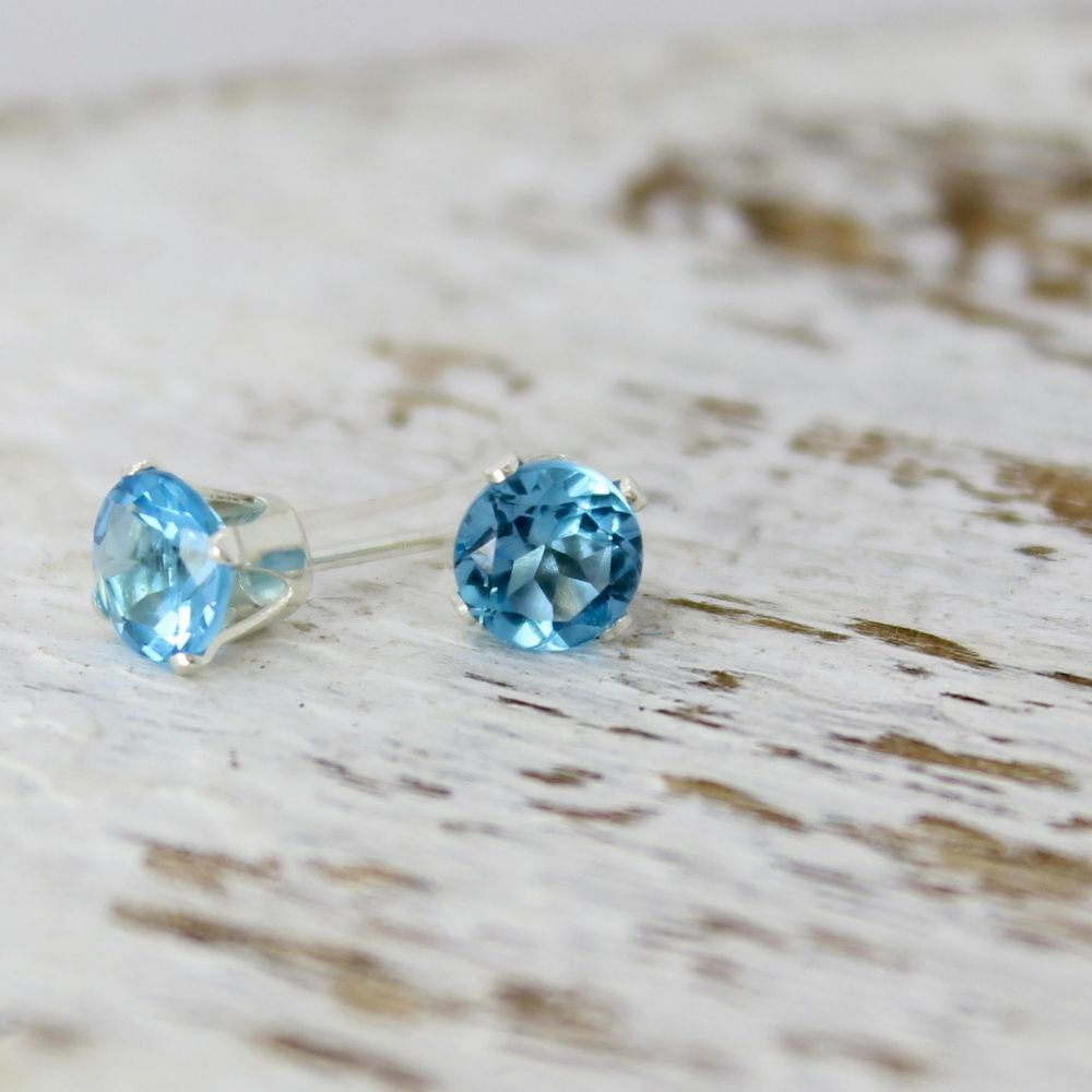 London Blue Topaz Faceted Stud Earrings