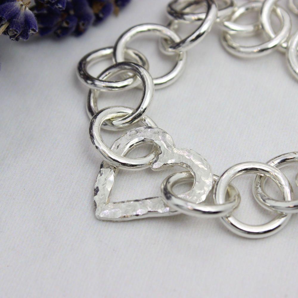 Heavy Link Heart Bracelet