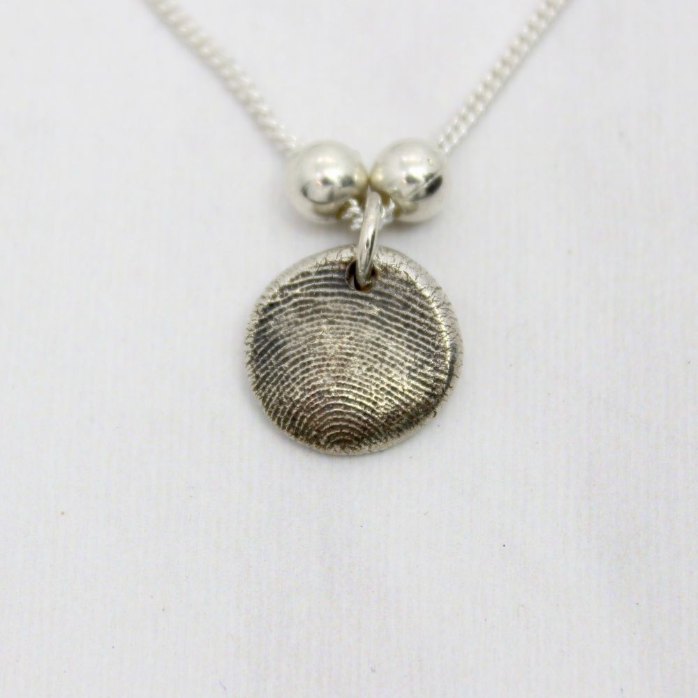 Fingerprint Bubble Necklace with Sterling Silver Spacers - one print