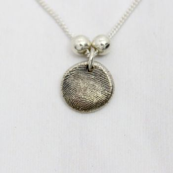 Fingerprint Bubble Necklace with Sterling Silver Spacers
