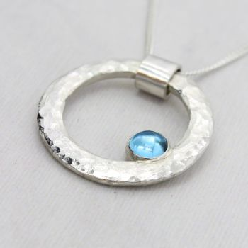 Hammered Circle Necklace with  Swiss Blue Topaz