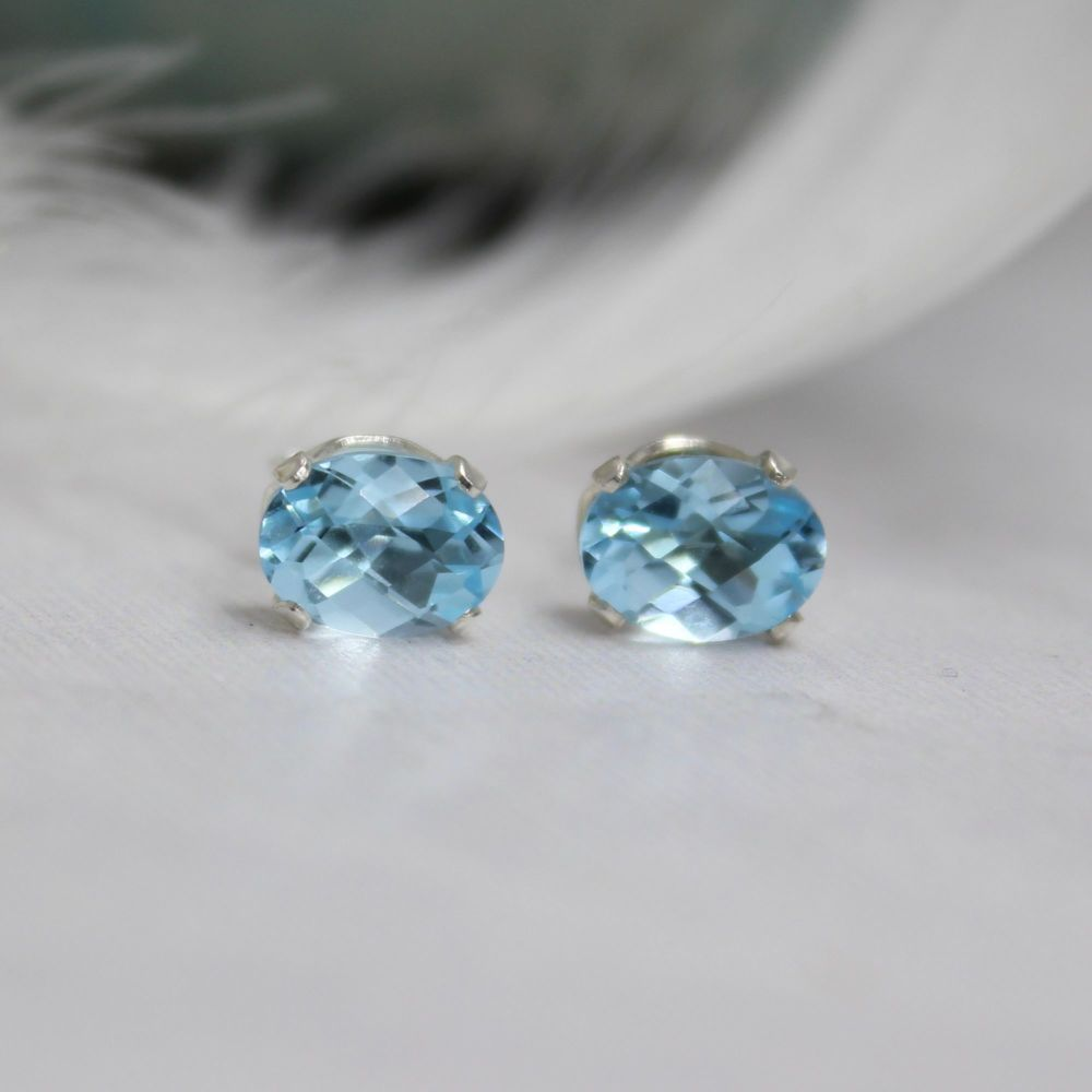 Topaz Sky Blue Oval Studs - Checkerboard Cut