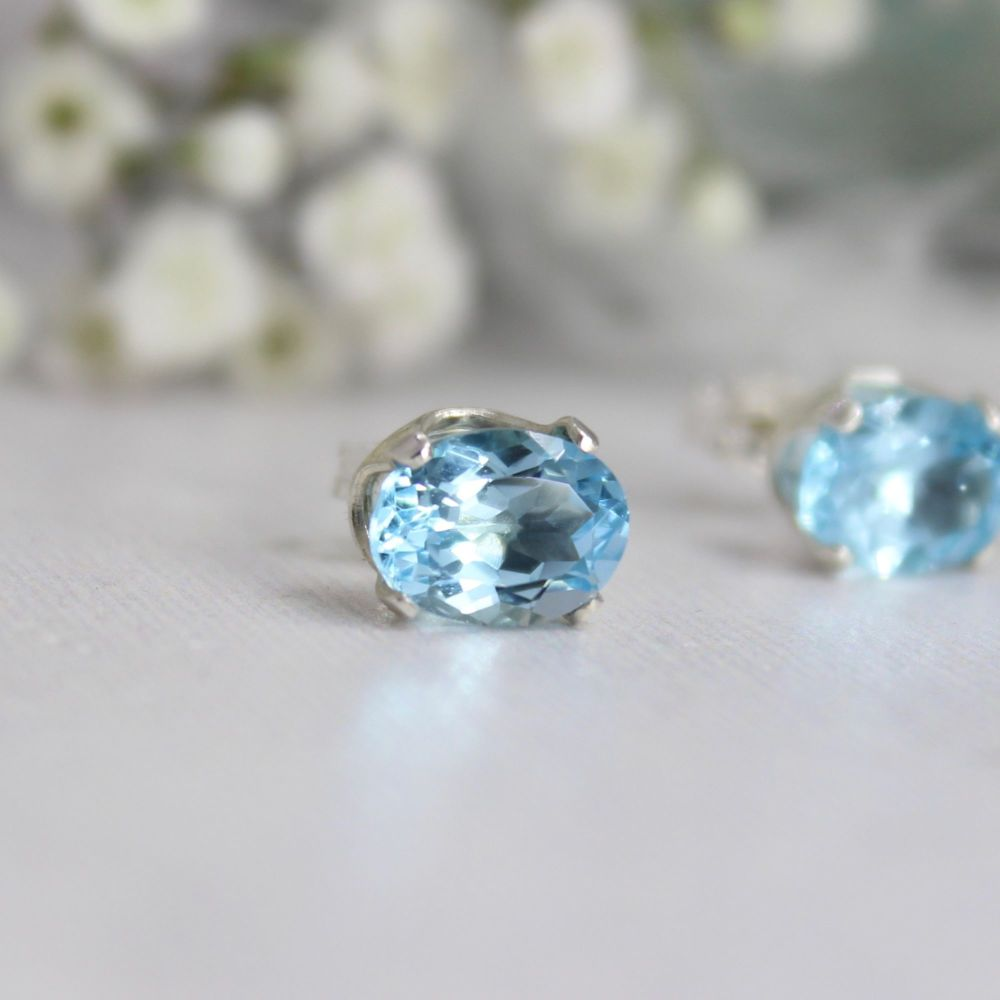 Topaz Sky Blue Oval Studs - Faceted