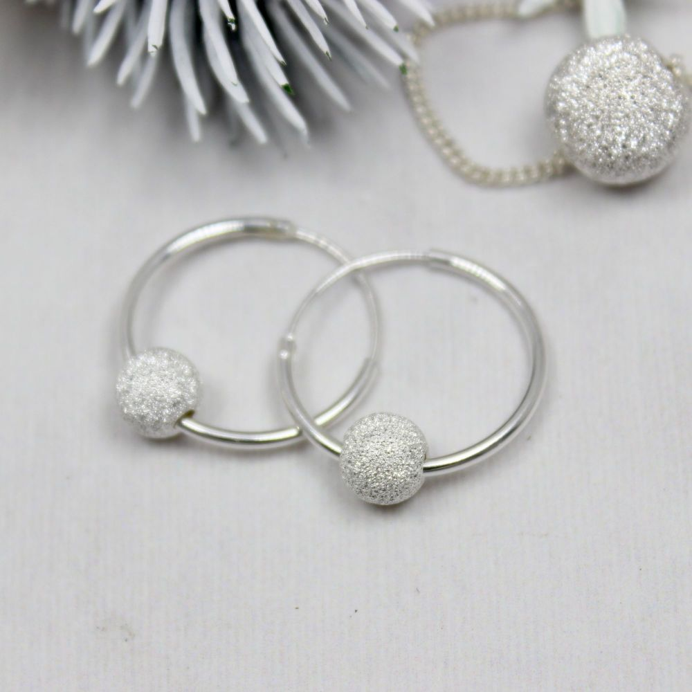 Glitter Ball Hoop Earrings