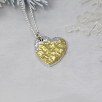 Hammered Heart in Pure Silver with a splash of 24ct gold