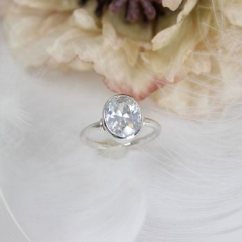 Cubic Zirconia (10 x 8mm) Oval Faceted Ring