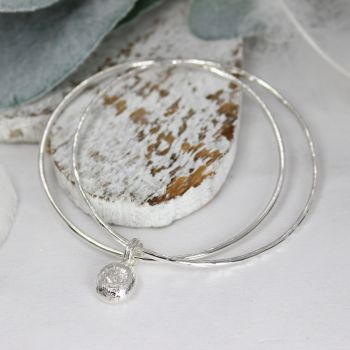 Double Bangle (Polished/Hammered) with Nugget
