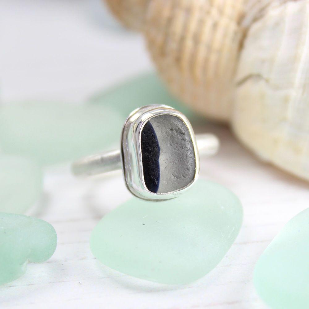 Seaham Sea Glass, Dark Blue Fish Eye Ring