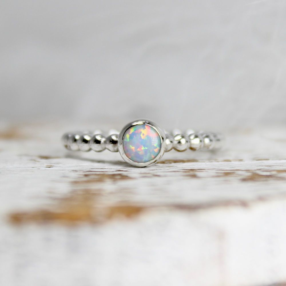 Opal Bubble Stacking Ring