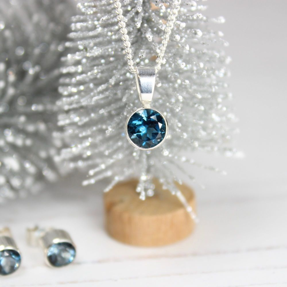 London Blue Topaz Pendant & Earring Set
