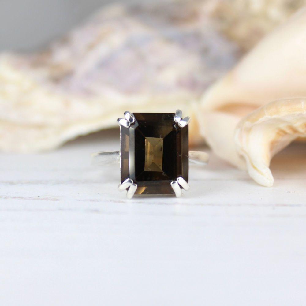 Smokey Quartz (12 x 10mm) Octagon Faceted Stone Ring