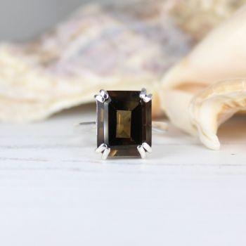 Smokey Quartz (12 x 10mm) Octagon Faceted Stone Ring