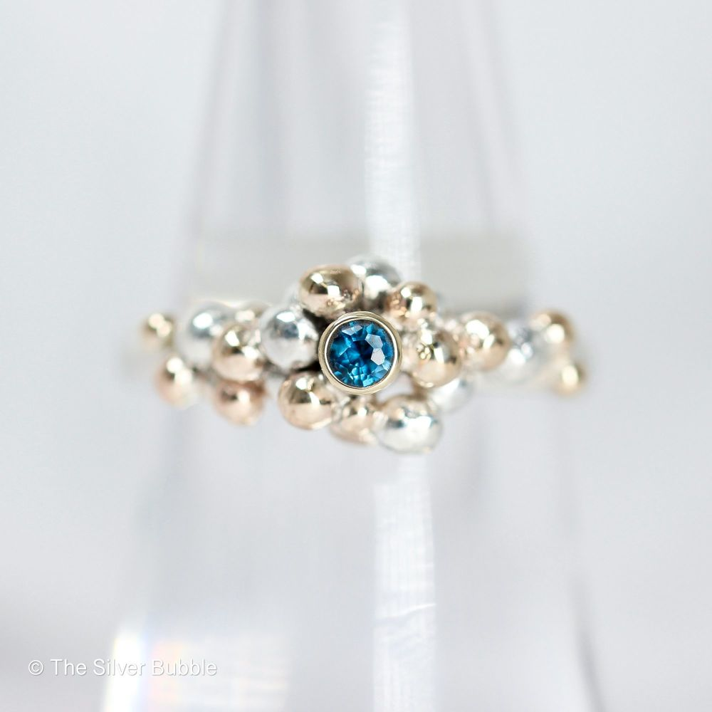 Granulation Ring with London Blue Topaz