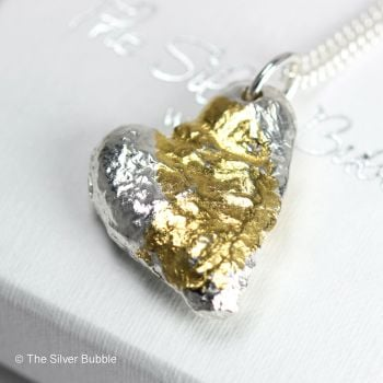 Heart to Heart - Recycled Silver Solid Heart Necklace with 24ct Gold