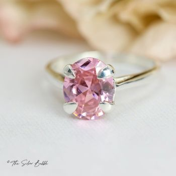 Pink Cubic Zirconia Oval Ring (10 x 8mm)