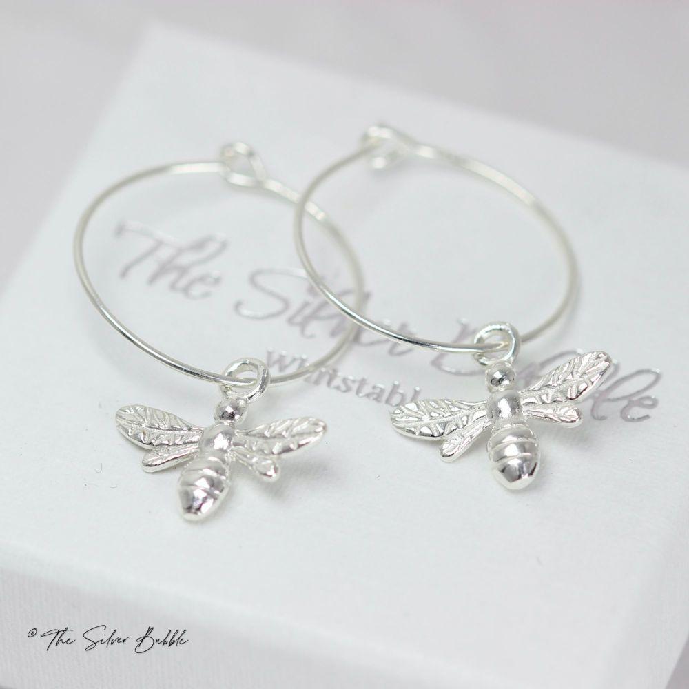 Bee Hoop Earrings - Silver