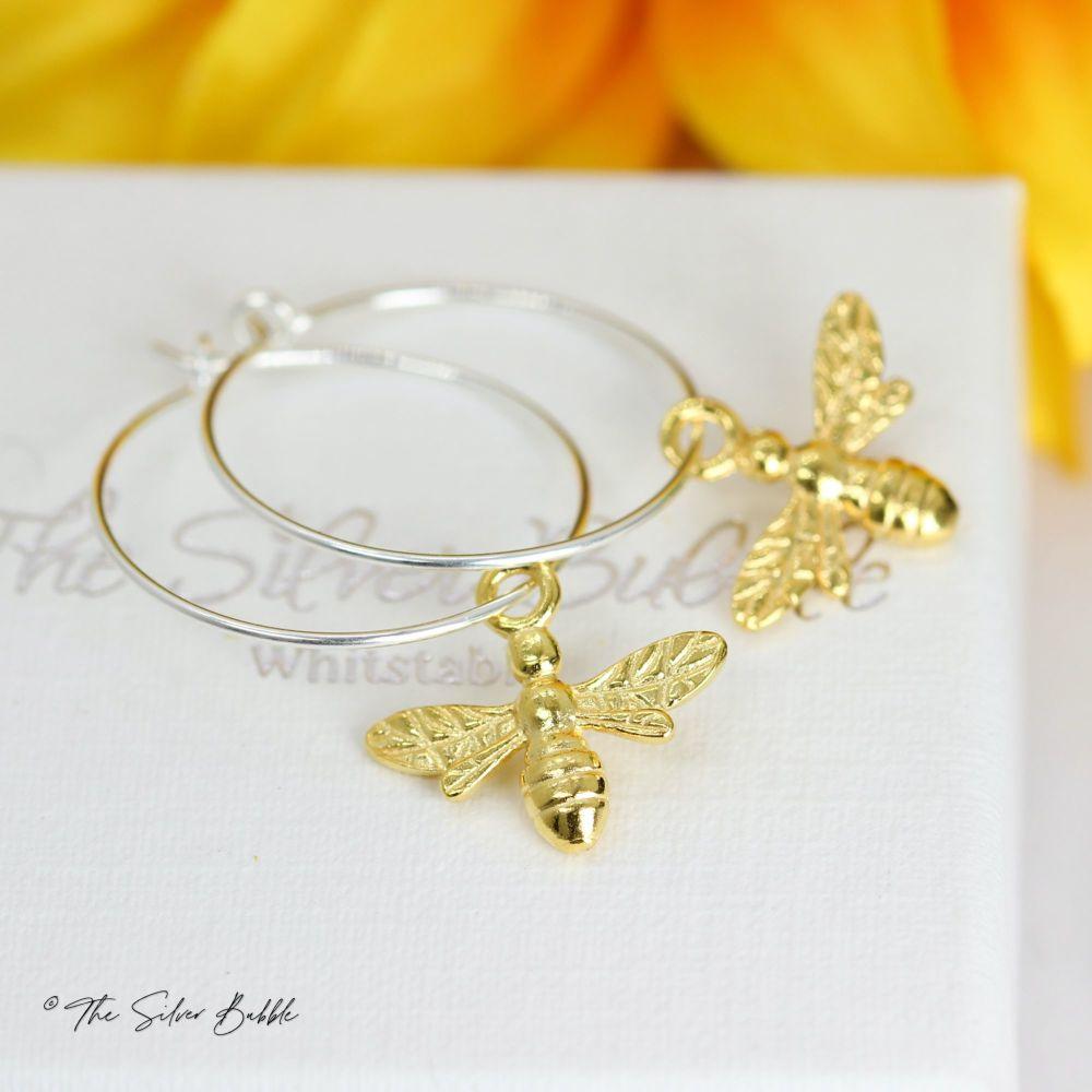 Bee Hoop Earrings - plated with 24K Gold