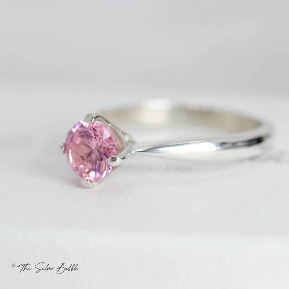 Pink Cubic Zirconia Ring (6mm)