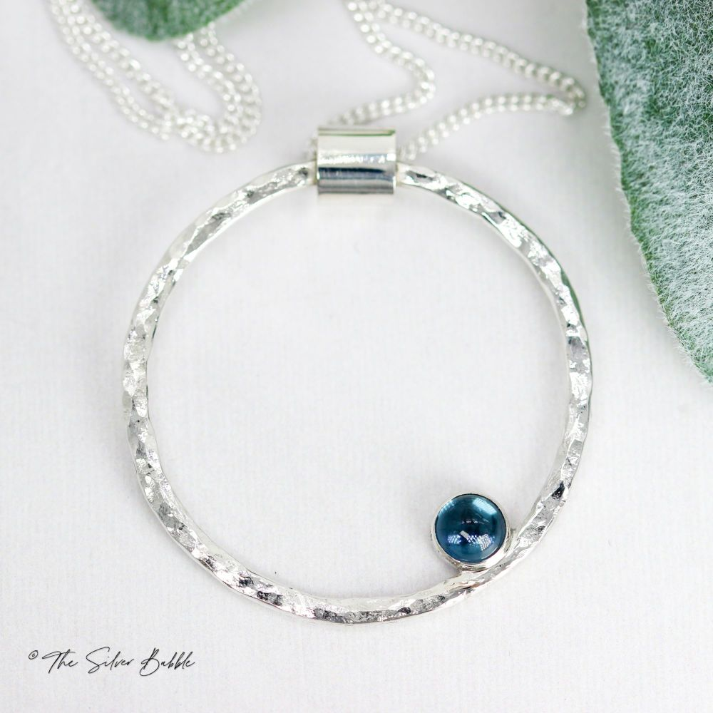Hammered Circle Necklace (thin) with London Blue Topaz