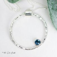Hoop Necklace (thin) with London Blue Topaz