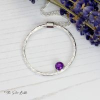 Hoop Necklace (thin) with Amethyst